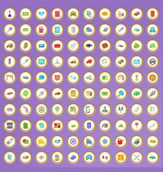100 car repair icons set in cartoon style vector image