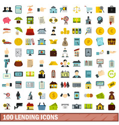 100 lending icons set flat style vector