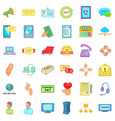 All day support icons set cartoon style vector
