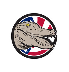 American alligator usa flag icon vector