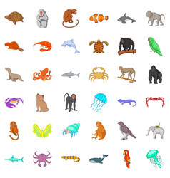 animal in nature icons set cartoon style vector image