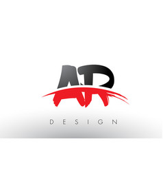 Ar a r brush logo letters with red and black vector