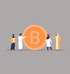 arab business man woman mining bitcoin crypto vector image