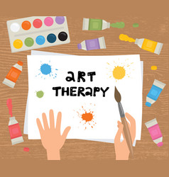 Art therapy hands brush paint sheet paper vector