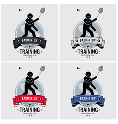 badminton club logo design artwork of badminton vector image
