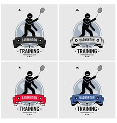badminton club logo design artwork of vector image