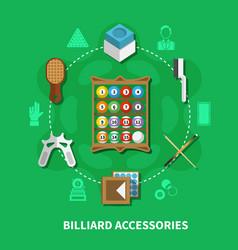 billiard accessories round composition vector image