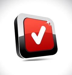 Check 3d square button vector