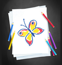child drawing butterfly vector image