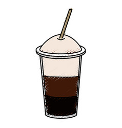Coffee shake with straw vector