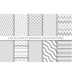collection seamless zigzag patterns vector image