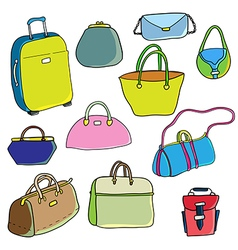 Color sketch Set of bags vector
