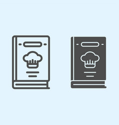 Cook book line and solid icon recipes closed vector