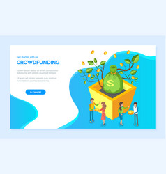 crowdfunding bag dollars coin and money vector image