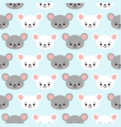 cute cartoon mouse seamless pattern background vector image