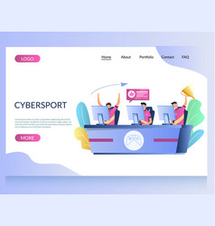 cybersport website landing page design vector image