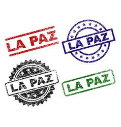 Damaged textured la paz stamp seals vector