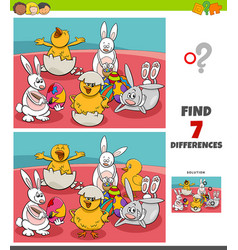 Differences game with comic easter characters vector