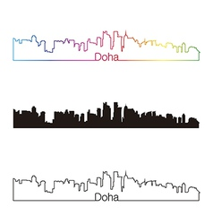 Doha skyline linear style with rainbow vector image