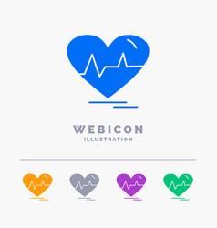 ecg heart heartbeat pulse beat 5 color glyph web vector image