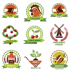 Farm food agriculture icons labels collection set3 vector