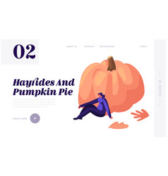 female character sitting at huge pumpkin spend vector image