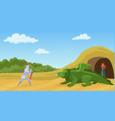 fight with dragon cartoon vector image