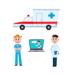flat ambulance car surgeon doctor laptop vector image