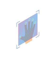 Full hand biometric fingerprint security on glass vector
