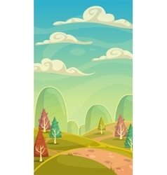 Funny cartoon nature landscape vector