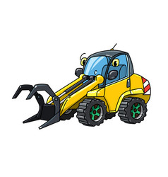 Funny log handler car with eyes forestry machinery vector