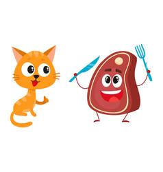 Funny red cat kitten character steak holding vector