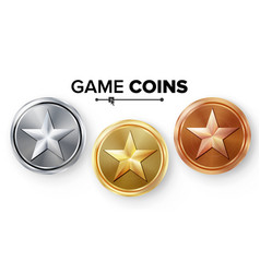 game gold silver bronze coins set with vector image