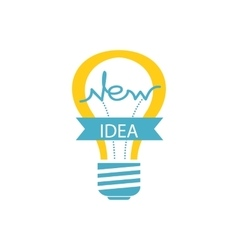 Glowing Yellow Light Bulb New Idea vector
