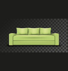Green sofa transparent background realistic mesh vector