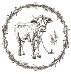 Hand drawn cow vector image