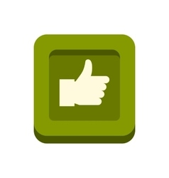 Hand up in square icon flat style vector image