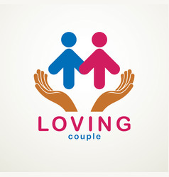 happy couple simple logo or icon created with vector image
