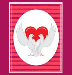 Happy valentines day poster two doves rising wings vector