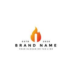 I letter logo fire design vector