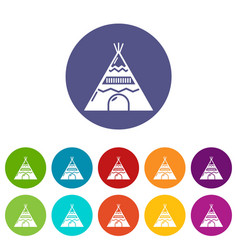 indian tent icons set color vector image