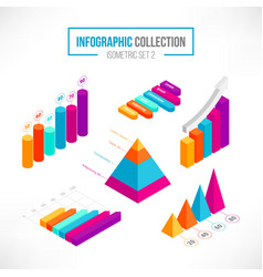 isometric 3d data graphs and diagram set 2 vector image