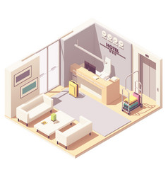 isometric hotel reception vector image