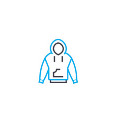 jacket with a hood thin line stroke icon vector image