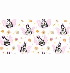Kawaii bat bunny pattern vector