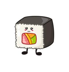 Kawaii sushi rolls sashimi vector