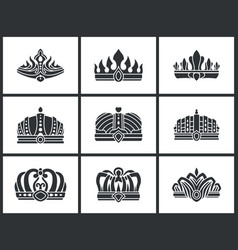 kings and queens monochrome crowns icon collection vector image