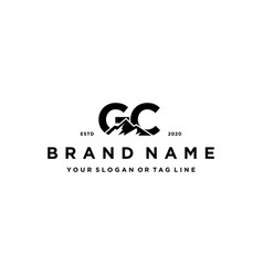 Letter gc mountain logo design vector
