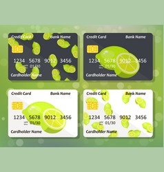 Lime on frontal side of credit card vector