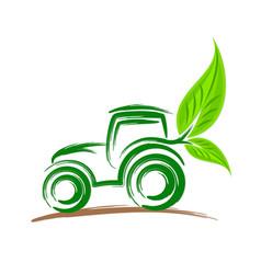 Logo of eco friendly tractor vector